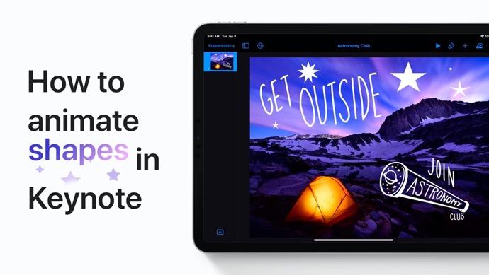 Apple Support、iPhoneおよびiPadのKeynoteで図形をアニメーション化する方法のハウツービデオを公開