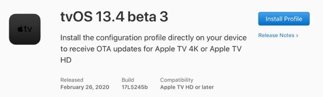 TvOS 13 4 beta 3 00001 z