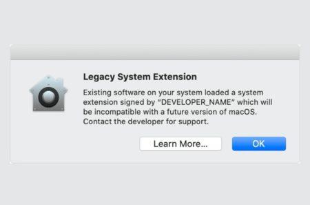 Apple、ユーザにレガシーのシステム機能拡張が今後のmacOSでは動作しない事を警告