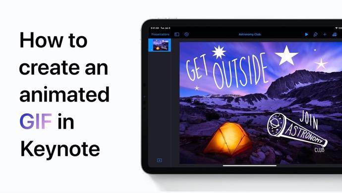 Apple Support、iPhoneおよびiPadのKeynoteでGIFとしてエクスポートする方法のハウツービデオを公開