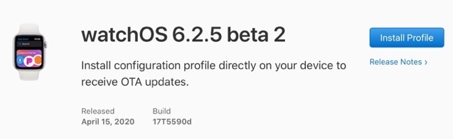 WatchOS 6 2 5 beta 2 00001 z