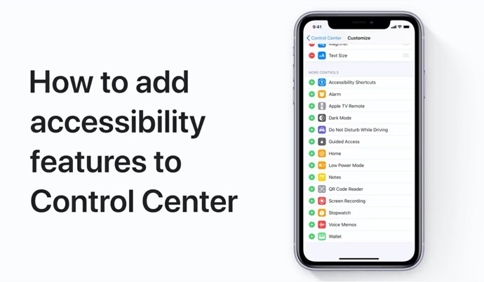 Apple Support、iPhoneおよびiPadのコントロールセンターにユーザー補助機能を追加する方法のハウツービデオを公開