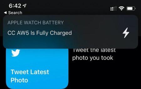 iOS 14、Apple Watchが完全に充電されると通知を送信