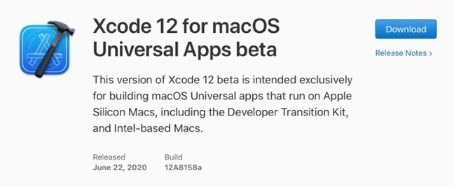 Xcode 12 for macOS Universal Apps beta 00001 z