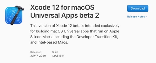 Xcode 12 for macOS Universal Apps beta 2 00001 z