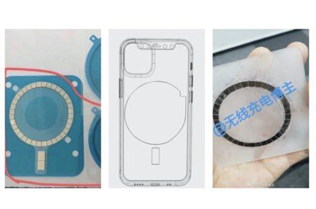 リークされたiPhone 12の回路図と画像によると、背面には新たに38個のマグネットアレイが搭載されている