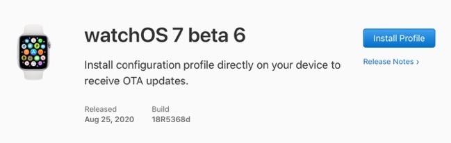 WatchOS 7 beta 6 00001 z