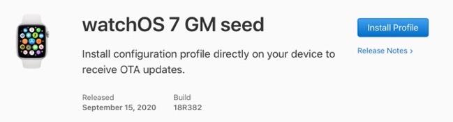 WatchOS 7 GM seed 00001 z