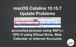 Catalina 10.15 .7 アップデート、iCloudを使っている場合にaccountsdのCPU使用率が400%に