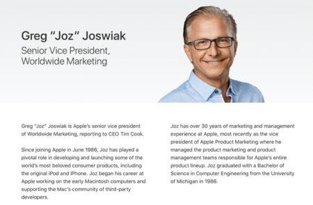Greg Joswiak氏がApple Leadershipサイトに追加、Phil Schiller氏が 「Apple Fellow」に移行