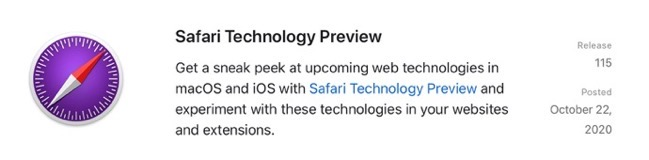 Safari Technology Preview Release 115 00001 z