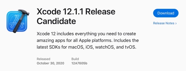 Xcode 12 1 1 Release Candidate 00001