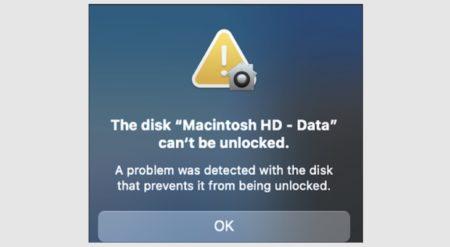 macOS Big Surアップデート後、ディスク「Macintosh HD – Data」のロックが解除できない場合の対処方法