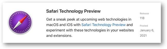 Safari Technology Preview 118 00001