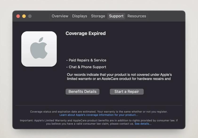 macOS Big Sur 11.3 beta、保証範囲とAppleCareの詳細を含む新しいサポートメニューが提供される
