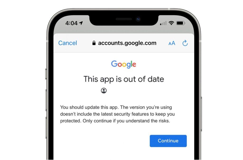 GmailのiOSアプリは2か月間更新されずGoogleがプライバシーラベルを遅らせているため、警告が表示され