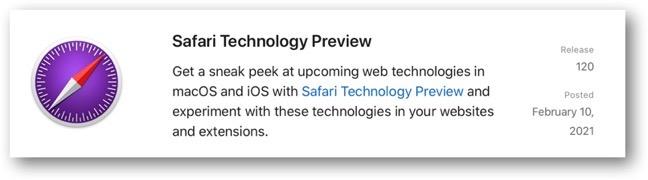 Safari Technology Preview 120 00001