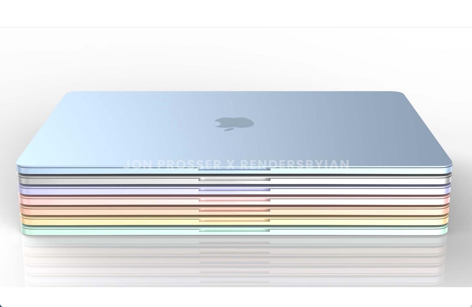 新しいM1 iMacの様なカラー、白いディスプレイベゼルのMacBook Airのレンダリング画像が公開される