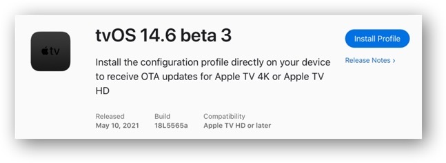 TvOS 14 6 beta 3