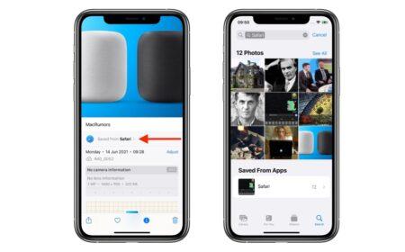 iOS 15の「写真」アプリは、どのアプリから画像が保存されたかを表示