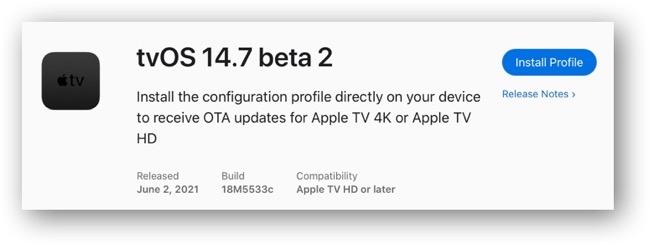 TvOS 14 7 beta 2