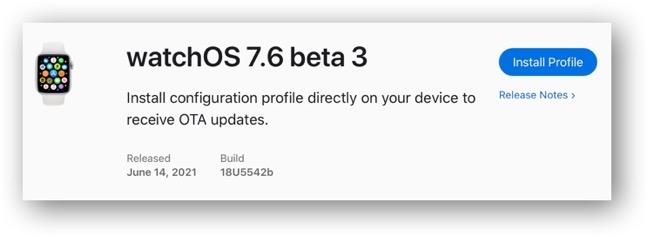 WatchOS 7 6 beta 3