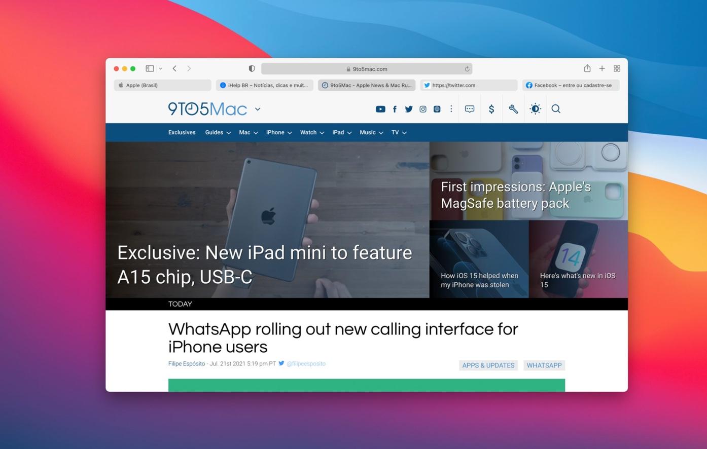 Apple、macOS Big SurとCatalinaのユーザーに Safari 15ベータ版の試用を呼びかけ