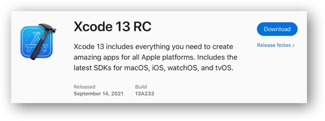 Xcode 13 RC