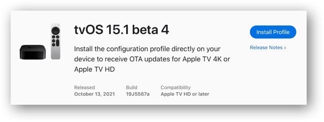 TvOS 15 1 beta 4